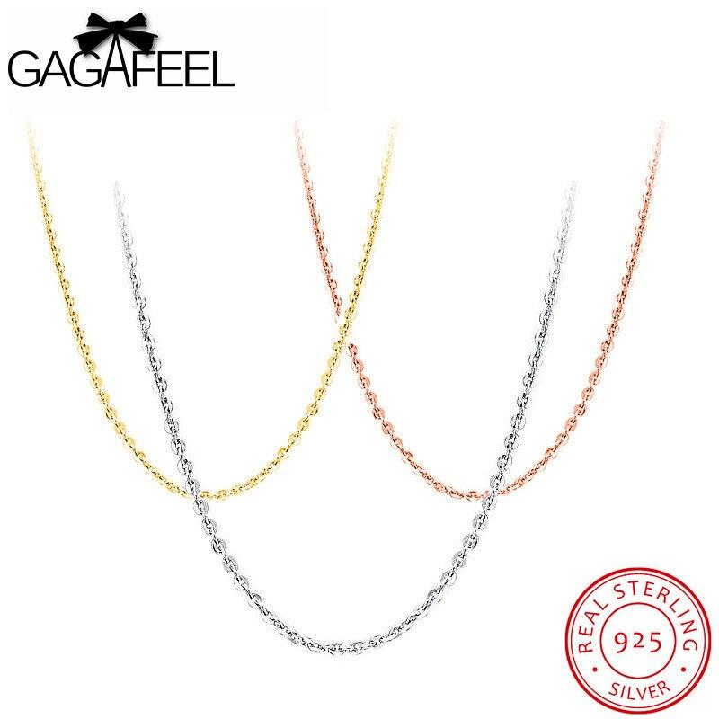 e48e69943737 GAGAFEEL de la joyería de la plata esterlina 100% cadenas collares con  colgantes fino enlace clavícula extender la cadena de oro Rosa oro plata  color