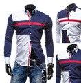 Camisas de los hombres de tres colores costura ocio cultiva su moralidad hombres camisa de manga larga de contraste del color del doble de moda camisa