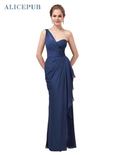 ef98bbb56 Alicepub One Shoulder Bridesmaid Dresses Long Chiffon Vintage Prom Party  Maxi Dress Draped Multi Colors Free Shipping