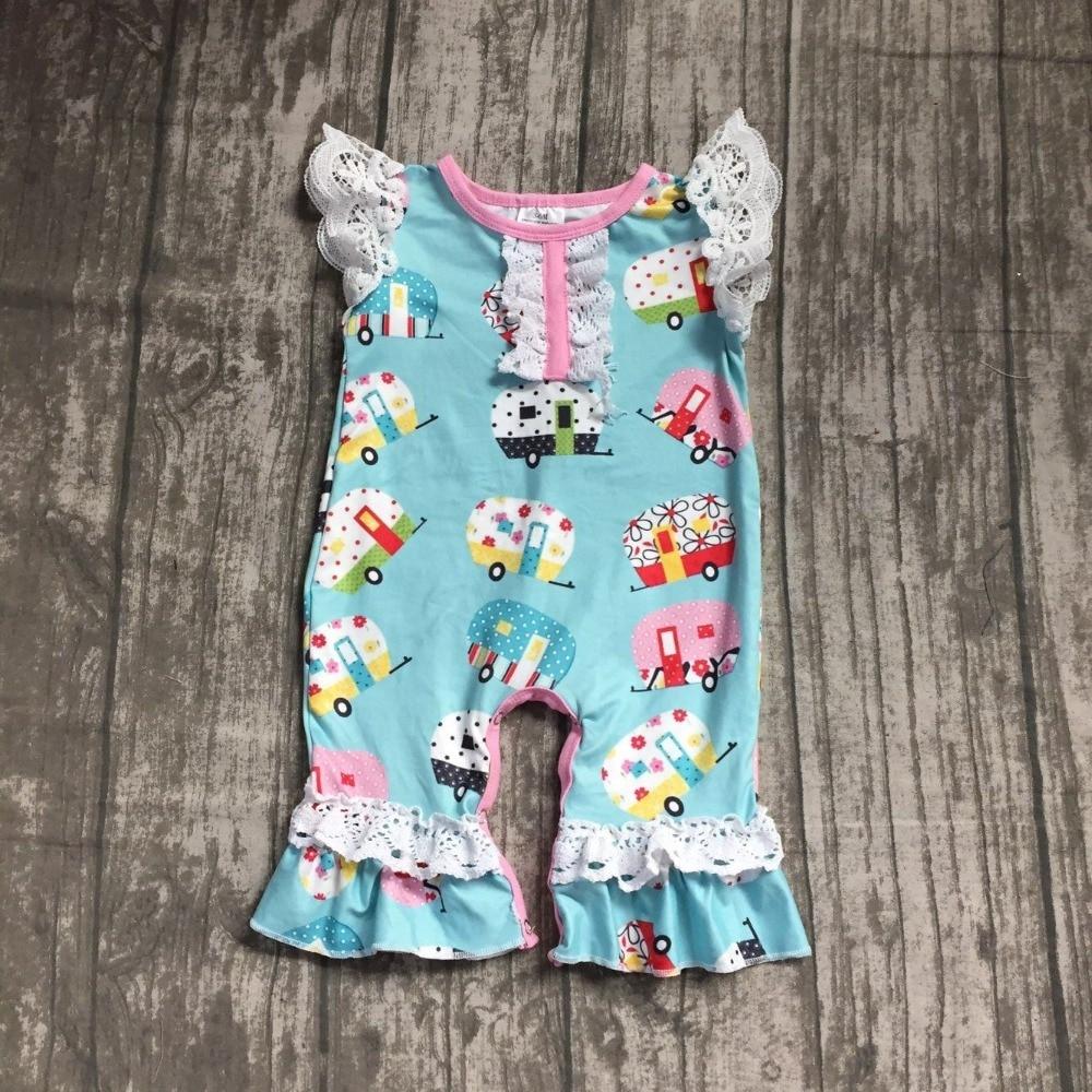 2018 new Summer baby kids romper blue camper bus cute cotton boutique children lace tutu clothes ruffles milk silk available set