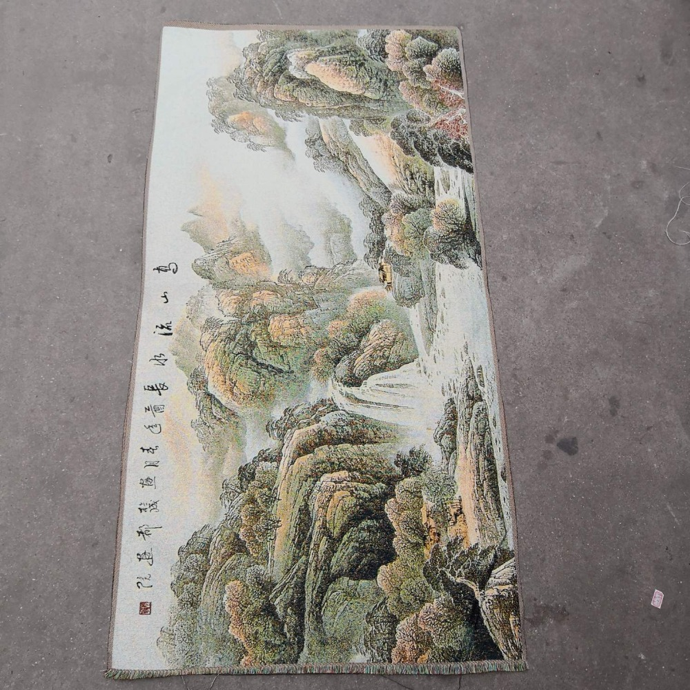 China old silk  like hanging painting Embroidery Landscape painting  long 120cmChina old silk  like hanging painting Embroidery Landscape painting  long 120cm