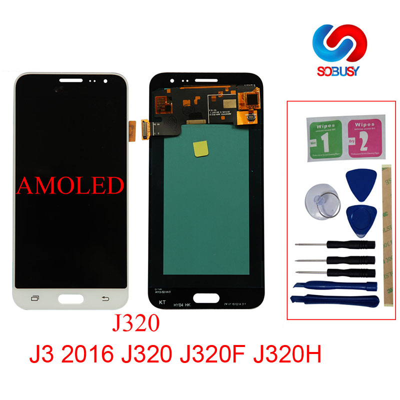 100% Super AMOLED <font><b>LCD</b></font> Für <font><b>Samsung</b></font> <font><b>Galaxy</b></font> J3 2016 J320 J320F <font><b>J320H</b></font> J320M J320FN LCDs Display Mit Touchscreen Digitizer EIN image