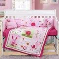 7 шт. с вышивкой для детской кроватки  простыня  Детский Комплект постельного белья для девочки  постельные принадлежности для новорожденны...
