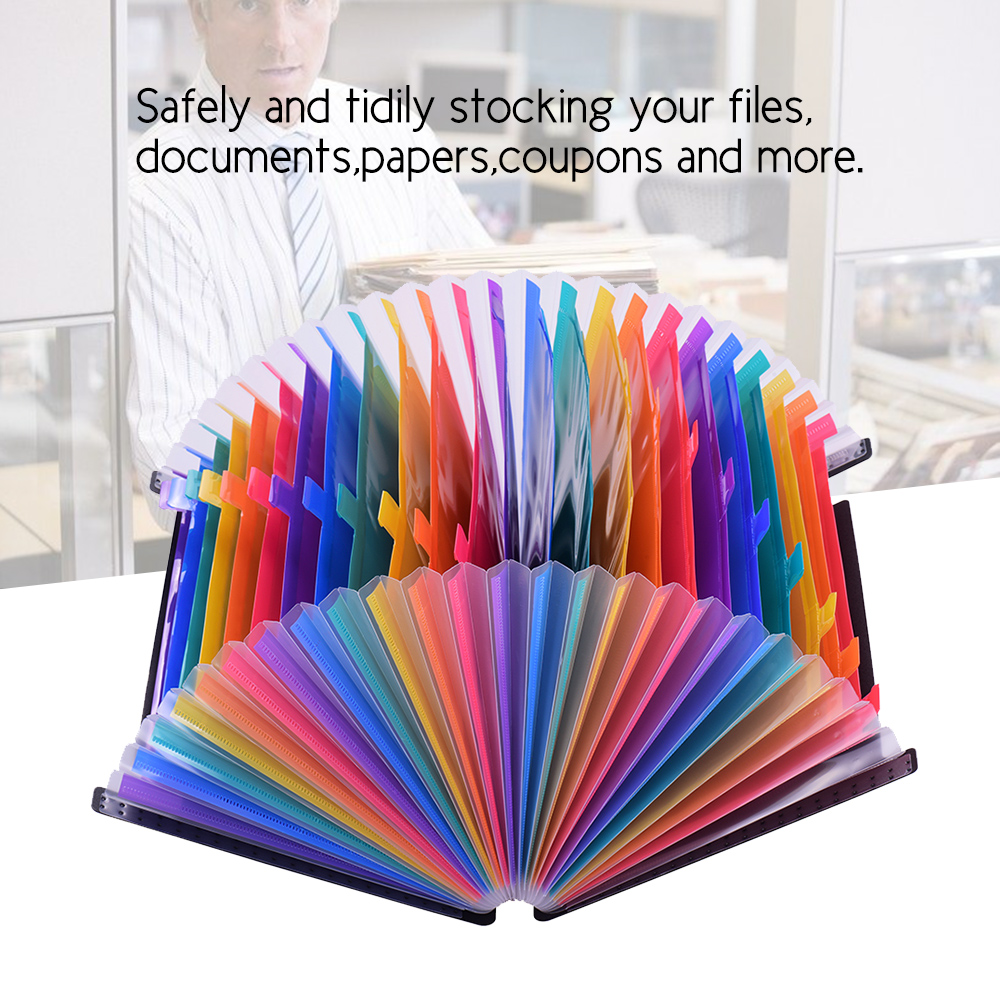 24/12 File Folder Colourful Pockets Organizer Expanding File Folder Accordion A4 Size With File Guides And Paper Tags