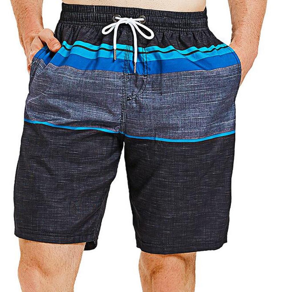 2019 Quick Dry Men's Swimming Trunk Beach Shorts Swimsuit Shorts Trunks Boxer Swimwear Vacation Wear Summer Sporty Panty Black