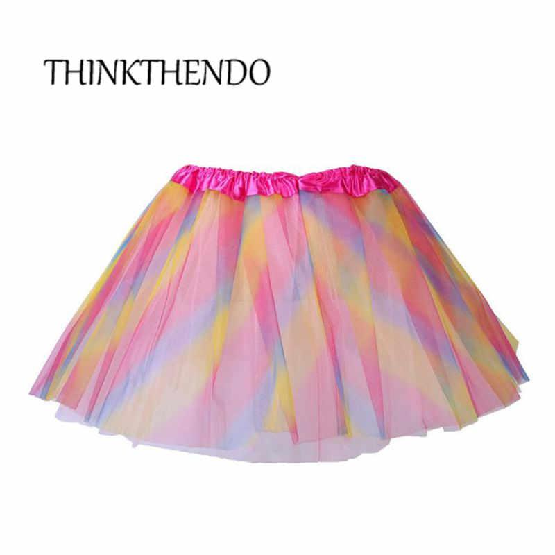 Falda tutú de Ballet para niñas pequeñas tres capas Arco Iris rayas de colores princesa satén cintura tul Pettiskirt 2-10 T