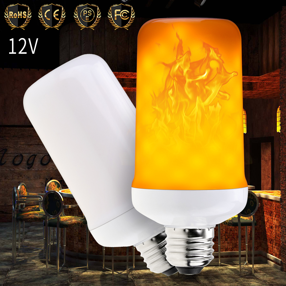 12V LED Flame Effect Light Bulb E27 LED Lamp Candle Flicker Bulb E14 Fire Light E26 Corn Lamp 2835SMD 99leds Lighting Decoration