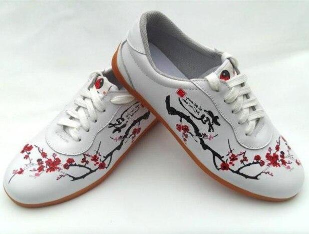 Prix pour Véritable En Cuir Tai Chi Kung Fu Chaussures D'arts martiaux Respirant Wushu Sneakers Femmes de Sport Pratique Chaussures
