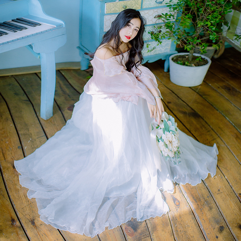 Ubei Spring 2019 women two-piece set romantic one-neck chiffon shirt + sweet flowing fairy long skirt sets