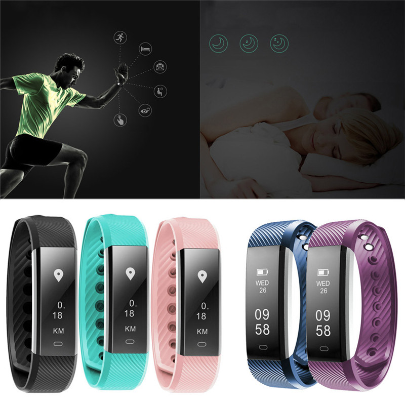 Sport Multifunction Waterproof Smart Bluetooth Bracelet Heart rate Pedometer Fitness Tracker Anti theft for Android IOS