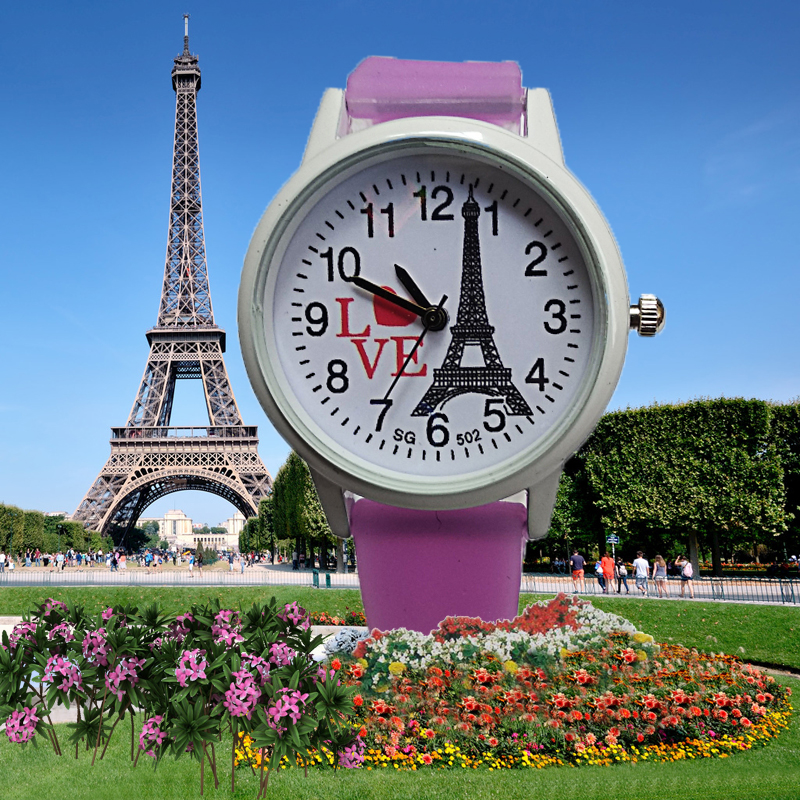 Romantic Paris Tower Women Watches For Kids Children Girls Watch Middle School Student Clock Crystal Dress Quartz Wristwatches