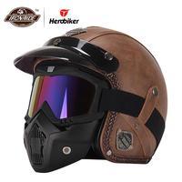 Новый Ретро винтажный немецкий стиль мотоциклетного шлема 3/4 открытый шлем для скутера Чоппер Крузер Байкер Мото шлем очки маска