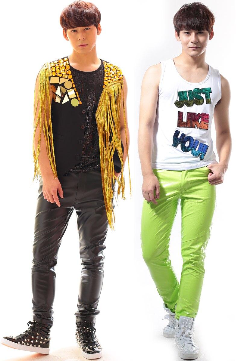 27-44!!! 2018, pour les vêtements de mode pour hommes candy neon série de pantalons décontractés costumes costume les vêtements du chanteur - 2