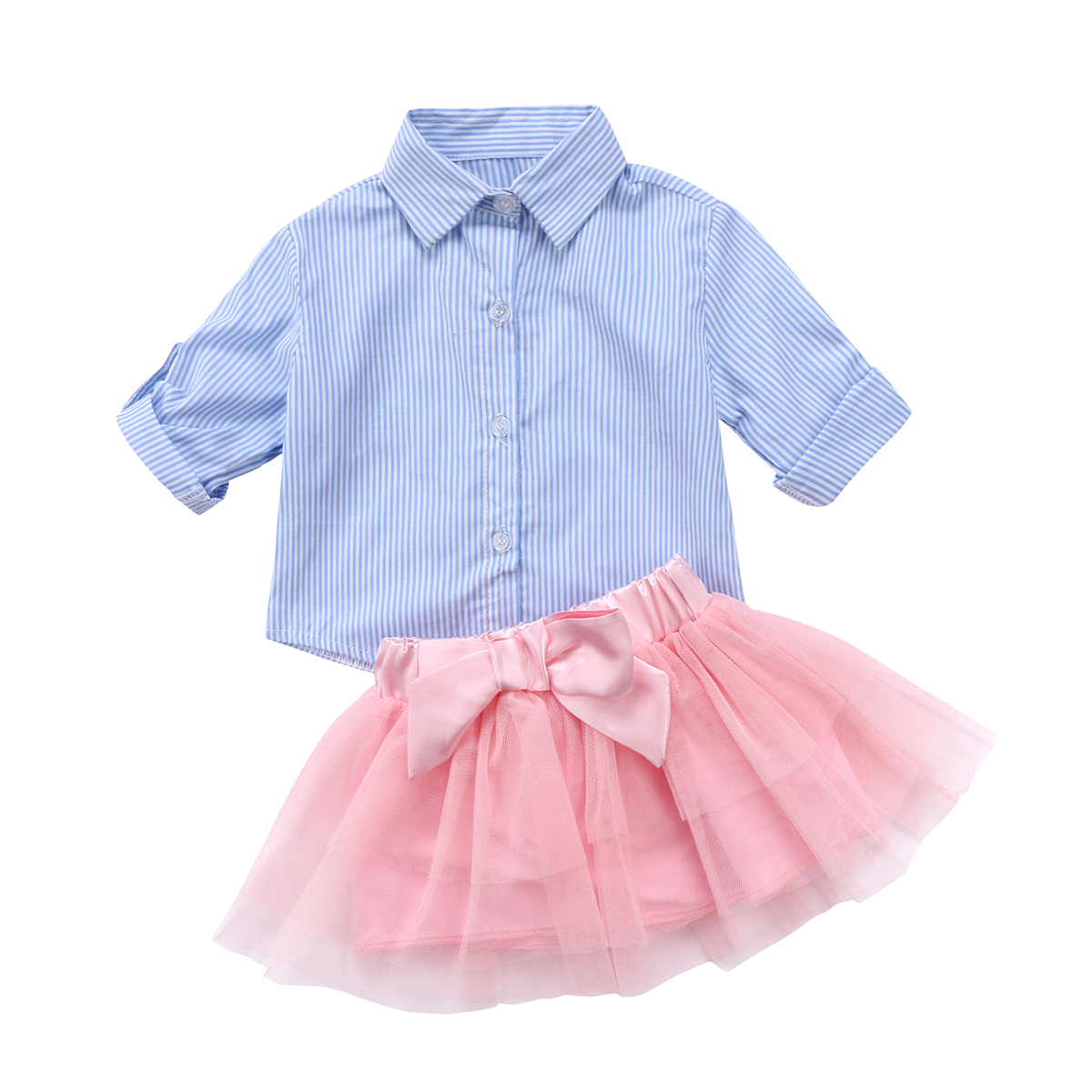 Newborn Infant Cute Baby Girls Long Sleeve Striped Lace Dress+Hat Outfit Clothes Set