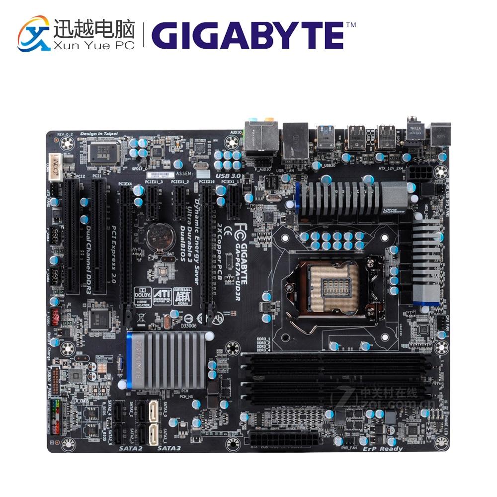 Gigabyte GA-P67A-UD3R Desktop Motherboard P67A-UD3R P67 LGA 1155 i3 i5 i7 DDR3 32G SATA3 ATX original desktop motherboard for gigabyte ga p67a ud3p b3 ddr3 lga1155 p67a ud3p b3 32gb p67 desktop motherboard free shipping