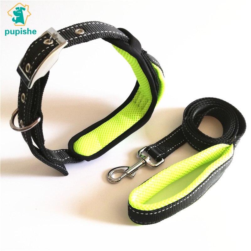 PUPISHE Pet Collars Handle Dog Collar and Leash Set Reflective Medium Big Dog Collar Lead Adjustable Nylon Protective Padded in Sets from Home Garden