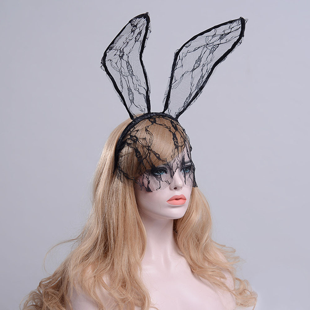 fff9dbe9222 Fashion Women Girl Hairbands Lace Rabbit Bunny Ears Veil Black Eye Mask  Halloween Party Headwear Hair Accessories-in Women s Hair Accessories from  Apparel ...