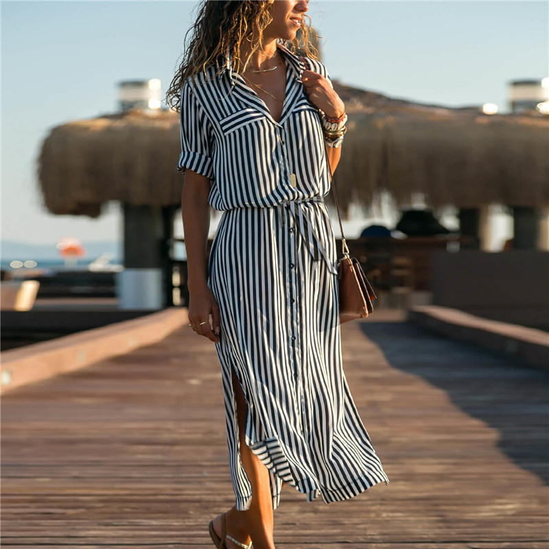 2019 Turn Down Collar Office Ladies Stripe Shirt Dress Long Chiffon Beach Dress Casual Long Sleeve Elegant Party Dress Vestidos 2