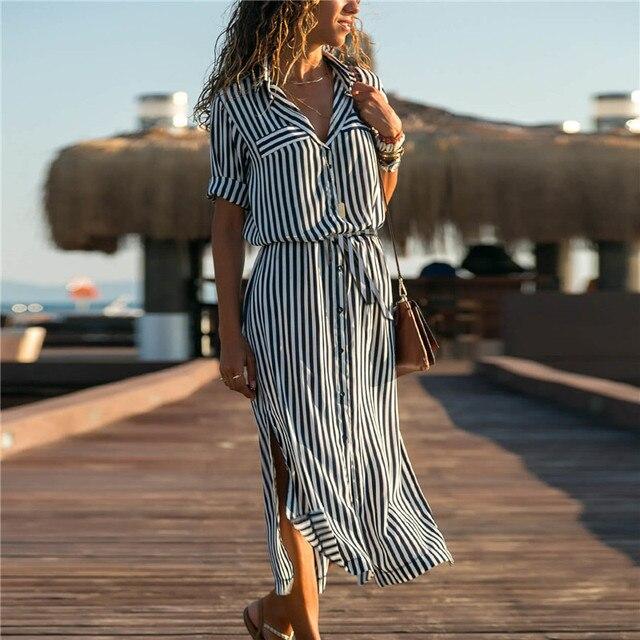 Robe-chemise longue à rayures 182 2