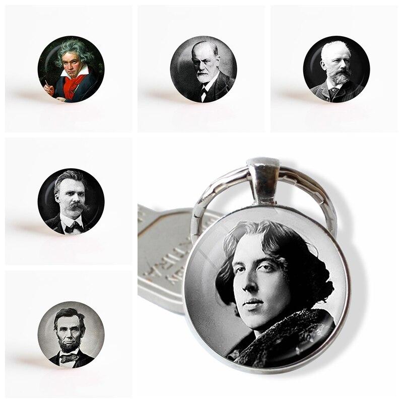Portrait Art Photo Oscar Wilde Lincoln Sigmund Freud Beethoven Vintage Alloy Keychain Bag Pendant Fashion Key Rings
