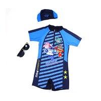 Boys One Piece Swimwear With Swimming Cap Kid's Professional Swimsuit Children Baby Boy Blue Striped Cartoon Swimming Wear