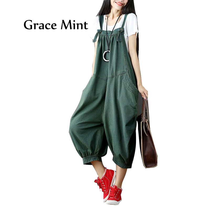 Women Casual Drop Crotch Jumpsuits Autumn Plus Size Baggy Rompers Fashion Solid Color Jumpsuits