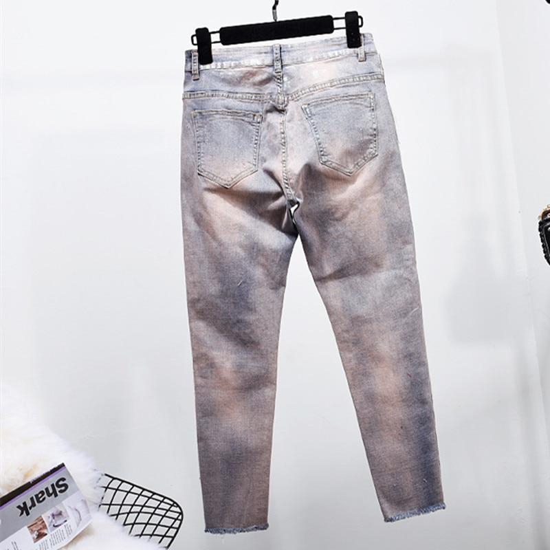 Informales Vaqueros Con 3544 De Para Mujer 2019 Vintage Lentejuelas Mezclilla Cuentas Ajustados Pantalones Elásticos Lujo TExgEdqB
