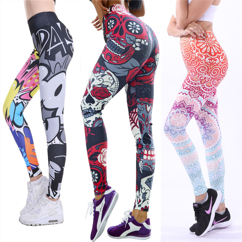 2019 hip Print feminine Women Unique Fitness Leggings Workout Sports Running Leggings Sexy Push Up Gym Wear Elastic Slim Pants