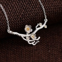 Real 925 sterling Silver Necklace Chain Plum Flower Pendants&Necklaces Fashion Jewelry For women Girls For Party Best Gift