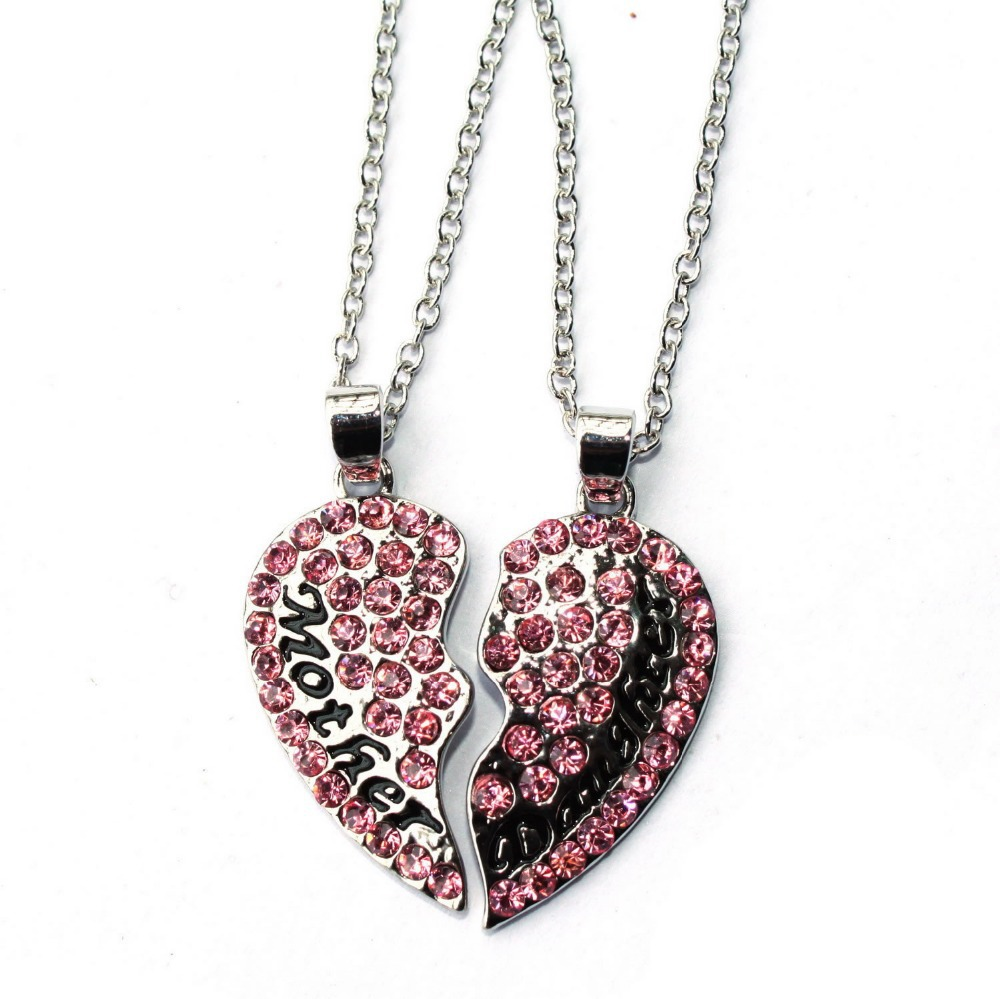 Clear and hot pink rhinestone crystal heart broken set necklace clear and hot pink rhinestone crystal heart broken set necklace pendant mother daughter necklaces besat gift for mom in pendant necklaces from jewelry aloadofball Choice Image