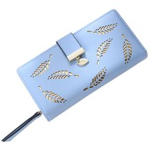 2019 New Women Wallets Pu Leather Long Fashion Clutch Bag Hollow Leaves Zipper Buckle Wallet Handbags