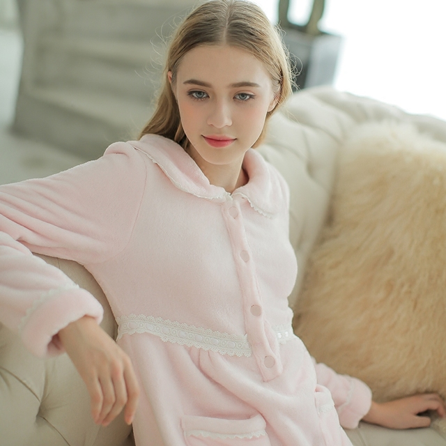 Winter Nightgown For Women Autumn Sleepwear Thickened Long Nightdress  Vintage Fashion Nightwear Dress Soft   High 3a99f41f9