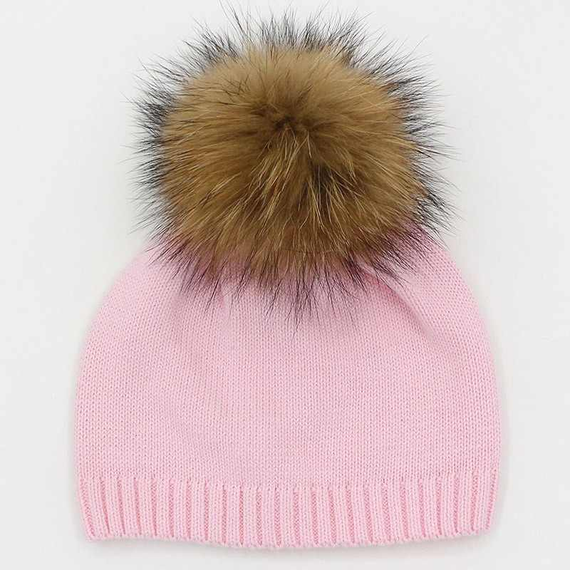 0045dcc0bea Detail Feedback Questions about GZHILOVINGL 2017 Winter Crochet Knitted  Kids Cotton Beanies Hats Cap Toddler Boys Girls Children Kids Brand Real  Fur Pom Pom ...