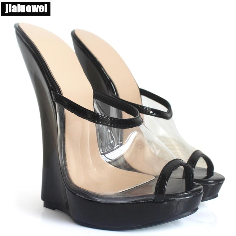 Jialuowei nowy lato przezroczysty przezroczysty buty z PVC kobieta 18 cm wysokie kliny obcas sandały na platformie damskie Open Toe płytkie sandały w Wysokie obcasy od Buty na  Grupa 1