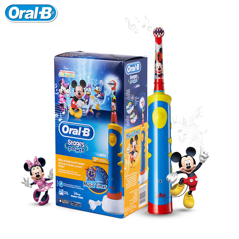 Oral B D10 Children Electric Toothbrush EB10 Replaceable brush heads Rechargeable Tooth brush Music Timer for Kids Ages 3+ ultra soft children kids cartoon toothbrush dental health massage 1 replaceable head outdoor travel silicone retractable folding