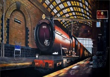 7x5FT Harry Potter Hogwarts Express Train Platform Custom Photo Studio Backdrop Background Banner Vinyl 220cm x 150cm(China (Mainland))
