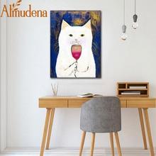 ALMUDENA Белый Кот вкус красное вино нордический милый простой мультфильм холст плакат без рамы настенная живопись мода украшение дома