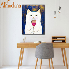 ALMUDENA White Cats Taste Red Wine Nordic Cute Simple Cartoon Canvas Poster Unframed Wall Art Painting Fashion Home Decoration