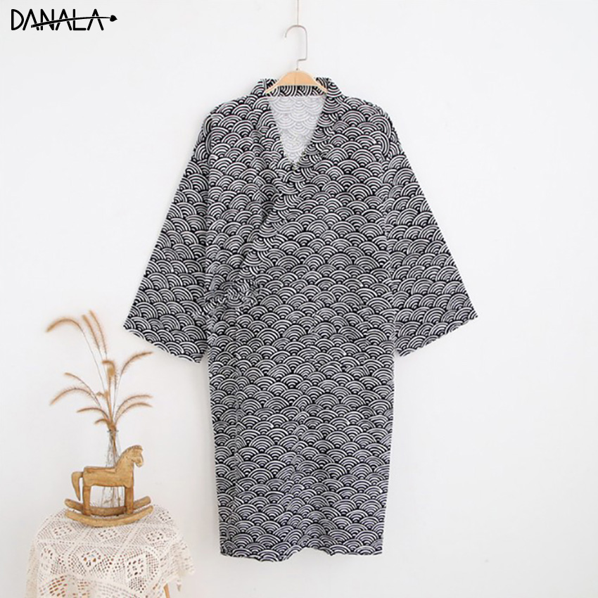 DANALA 100% Cotton Bathrobe Casual Sleeping Robes For Men V-neck Summer Dressing-gown Comfortable Pajamas Yukata Home Robes Men