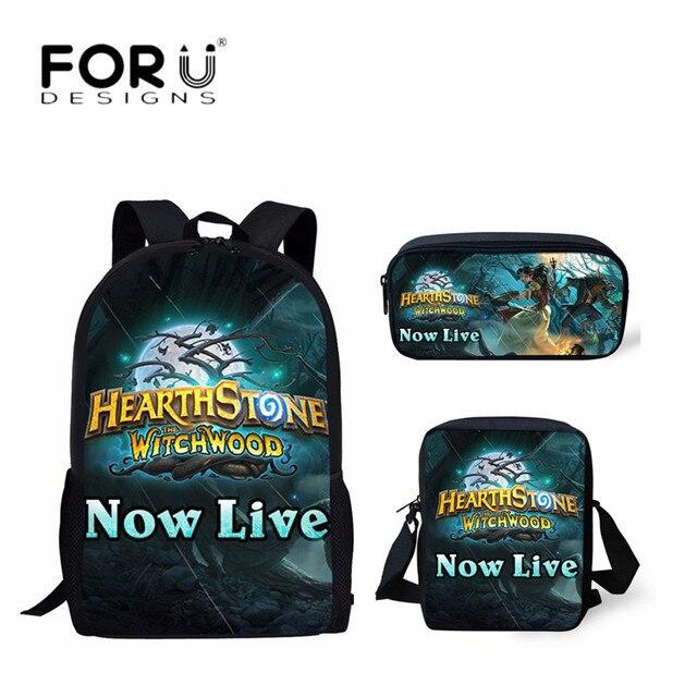 FORUDESIGNS School Bags 3D Hearthstone Game Shoulder Book Bag for Teenage  Boys Canvas School Backpacks Kids Schoolbag 3PCS Set c110e06213572