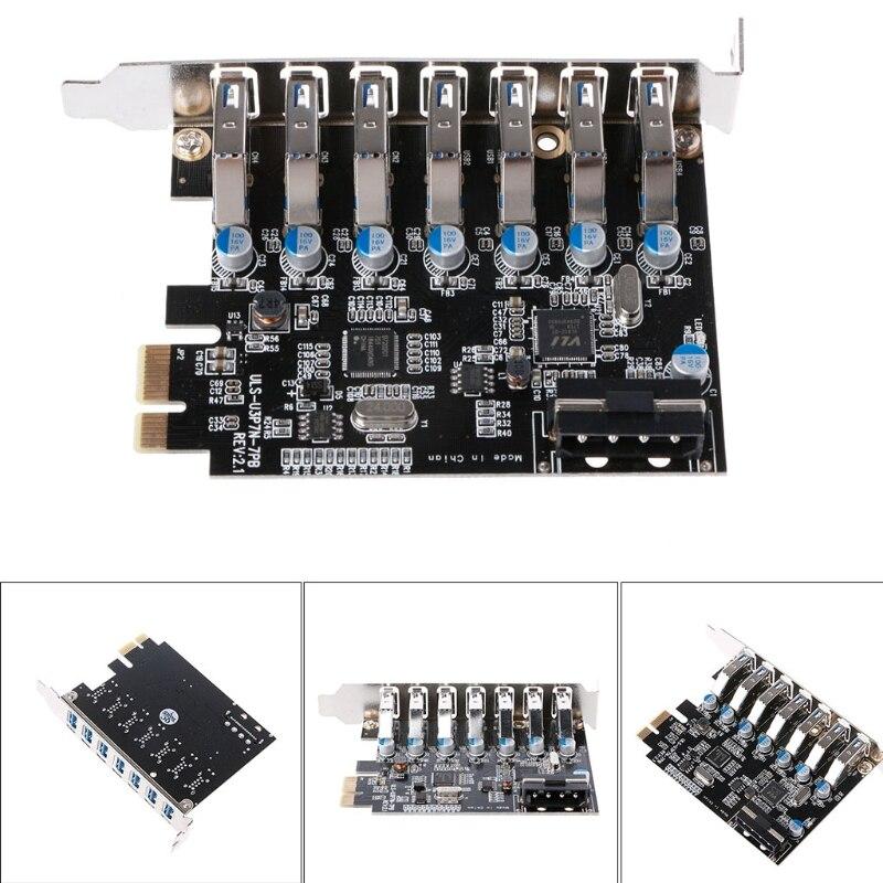 PCI Express Carte 7-Port SuperSpeed USB 3.0 À SATA 15-Pin Connecteur D'alimentation PCI Express Carte Adaptateur