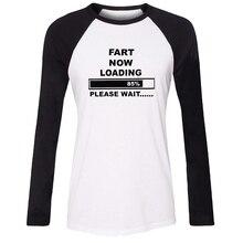 iDzn NEW cotton Women T-shirt Funny Fart Now Loading please wait Pattern Raglan Long Sleeve Girl T shirt Casual Lady Tee Tops