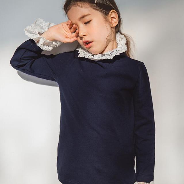 204f5fce2 Niño adolescente Niña de la escuela blusa de encaje con volantes camisa de  los niños Camiseta