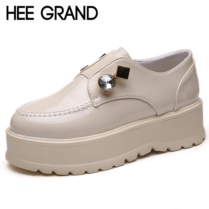 HEE GRAND Vintage Brogue Shoes Slip On Platform Oxfords Shoes Woman Casual PU Patent Leather Creepers Fashion Flats XWD6847 hee grand 2017 creepers platform casual shoes woman lace up oxfords spring flats fashion solid women shoes xwd4890