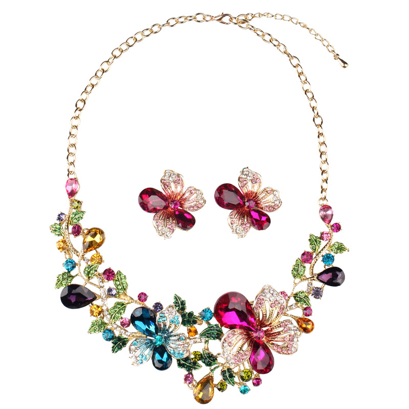 Fashion High Quality Crystal Necklace Exaggerated Design Charm Women Dance Party Earrings Jewelry Fine Gifts Jewelry Sets