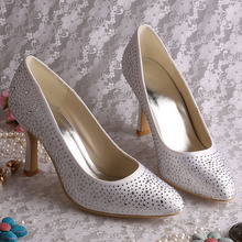 Custom Handmade Top Quality White Bridal Shoes Crystal Pointy Toe 9CM Heel