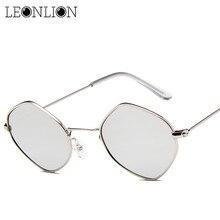 LeonLion Poligonal Do Vintage Óculos De Sol Das Mulheres Designer De Marca  Pequena Liga Quadro Óculos de Sol Reflexivos Espelho . a707306df6