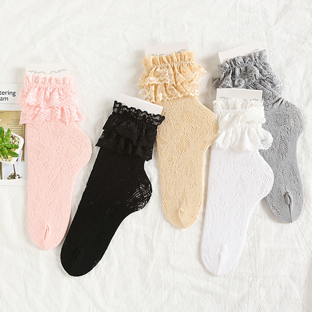 Japanese Mesh Ankle Socks Women Thin Lace Hollow Out Fancy Retro Sock Ruffle Frilly School Short Socks Breathable Spring Autumn