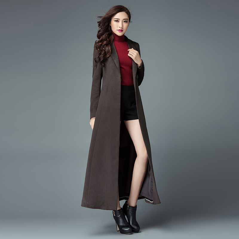 Fashion Solid Color Wool Coat Long Wool Jacket Women's ...
