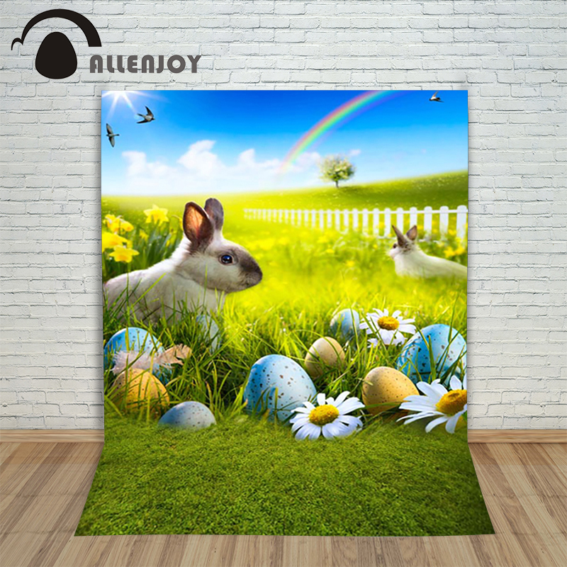 Allenjoy Easter backdrop Happpy eggs Rabbit Rainbow egg prairie sunshine blue baby photography for photo studio